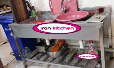 سینک صنعتی دو لنگه ظرفشویی بدون سینی