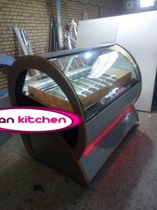 تاپینگ بستنی طرح کره ای ۱۴ کاسه استیل طلایی