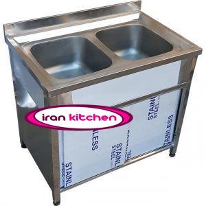 سینک ظرفشویی صنعتی کابینتی دو لنگه یک متری رستورانی از جنس ورق استیل