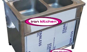 سینک ظرفشویی صنعتی کابینتی دو لنگه یک متری رستورانی