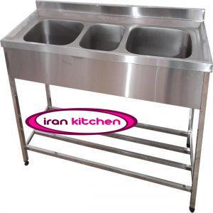 سینک ظرفشویی صنعتی استیل سه لگن پرسی آشپز خانه های صنعتی