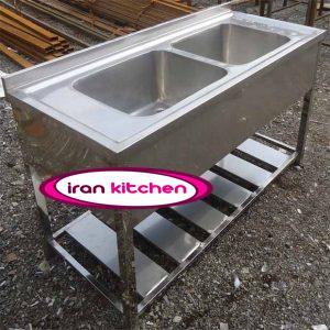 سینک صنعتی استیل رویه پرسی دو لگن پایه دار دارای پاتروکی آشپز خانه های صنعتی