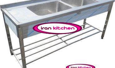 سینک استیل نگیر ضد زنگ دو لگنه آشپز خانه صنعتی با پایه پاتروکی
