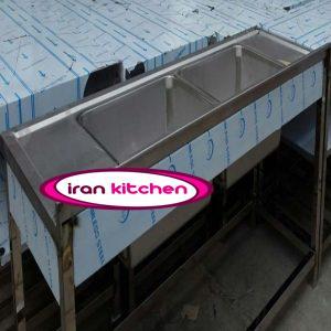 سینک ظرفشویی استیل رویه جوشی دو لگن دارای پایه و پاتروکی رستوران