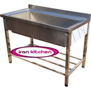 وان استیل صنعتی شستشو دست ساز طول ۱۲۰ سانتی متر با بدنه و وان تمام استیل