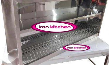 کابینت آبچکان بدون درب استیل خشدار طول ۱۵۰ سانتی متر