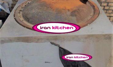 تنور نانوایی ساج چدنی دارای بدنه استیل با دودکش گاز