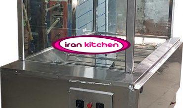 دستگاه مرغ بریان ذغالی دارای 10 سیخ و هود و شیشه