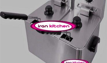 سرخ کن صنعتی رومیزی برقی دو لگنه بدون شیر تخلیه