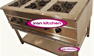 اجاق گاز آشپزخانه دارای پایه و شش شعله با کیفیت بسیار بالا