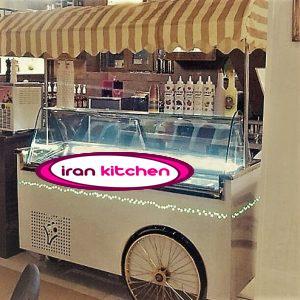 تاپینگ کالسکه ای بستنی دارای چرخ با کیفیت بسیار بالا